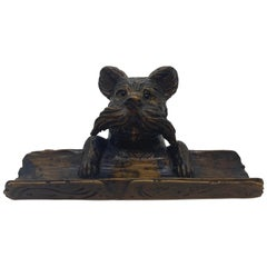 Black Forest Hand Carved Terrier Inkwell Stand with Glass Eyes, Swiss circa 1880