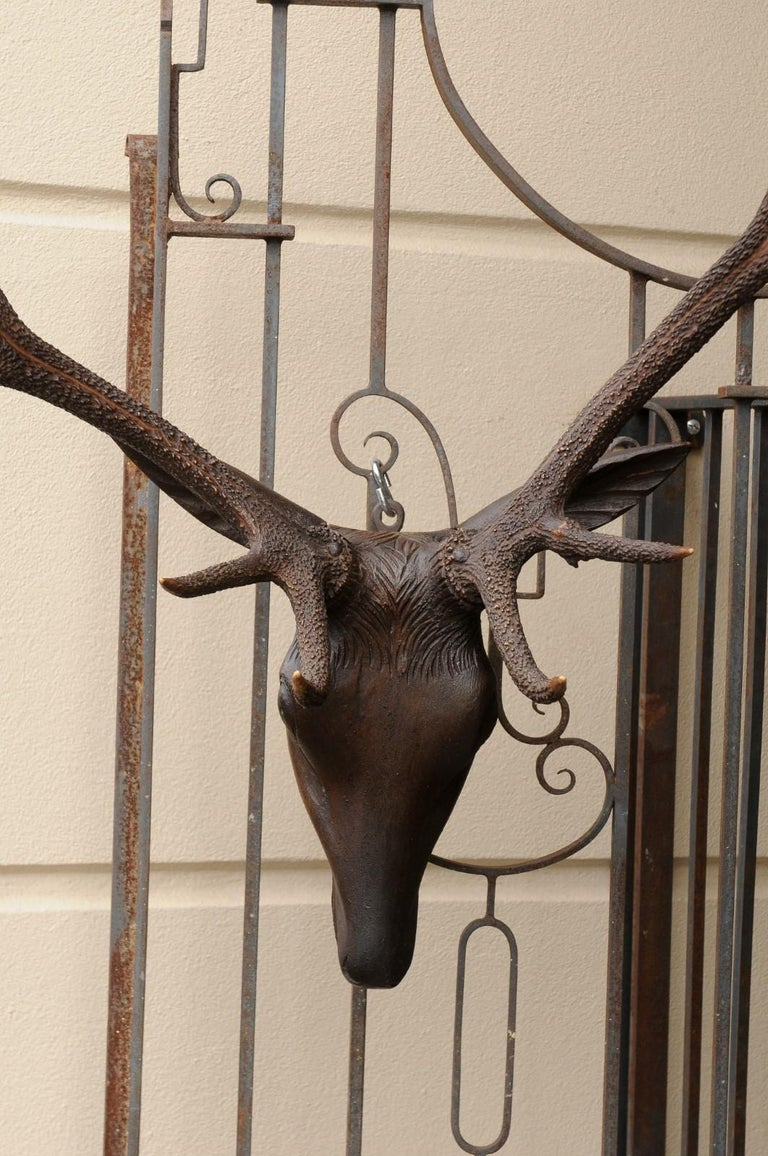 20th Century Black Forest Hand Carved Wood Stag Head, circa 1920 with Authentic Antlers For Sale