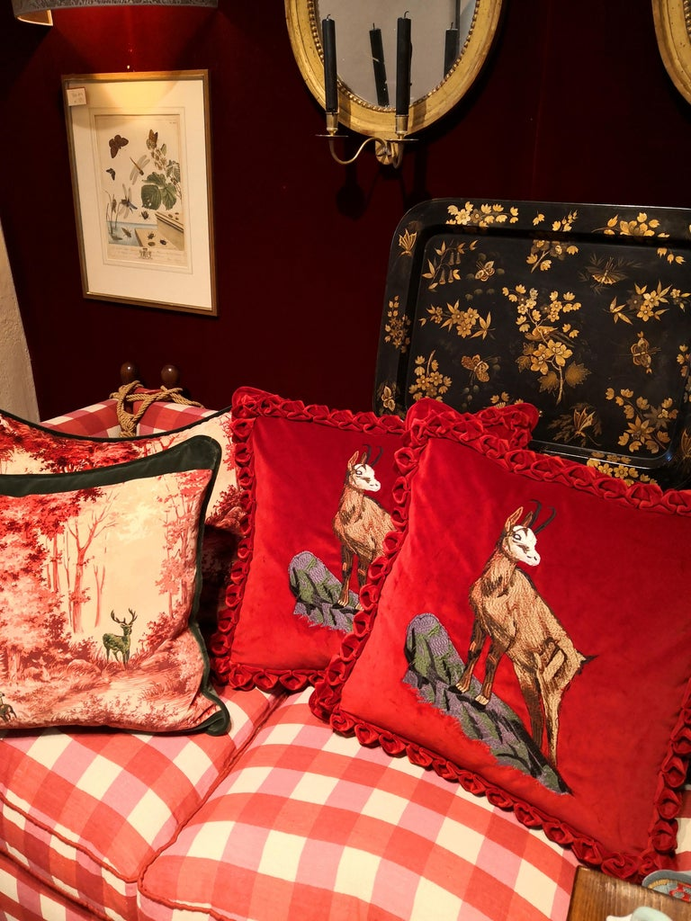 Black Forest Handmade Cushion Hunting Scene Sofina Boutique Kitzbuehel For Sale 1
