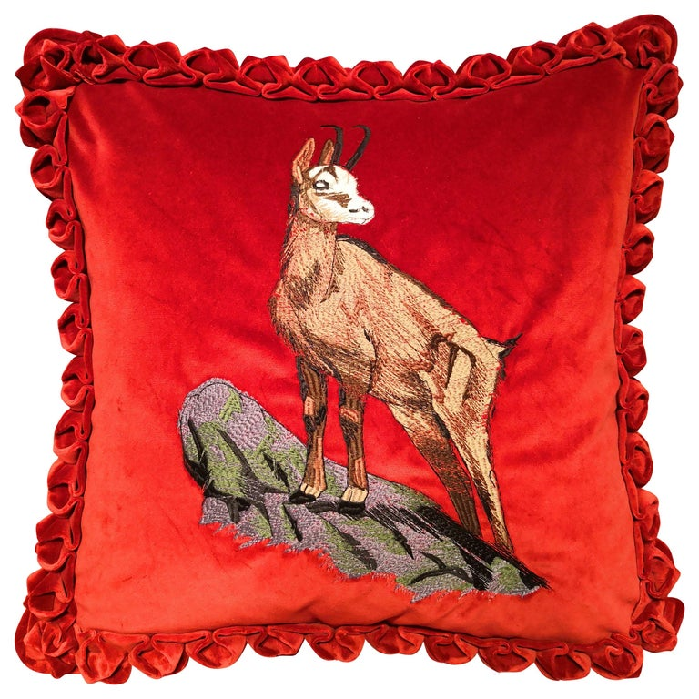 Black Forest Handmade Cushion Hunting Scene Sofina Boutique Kitzbuehel For Sale