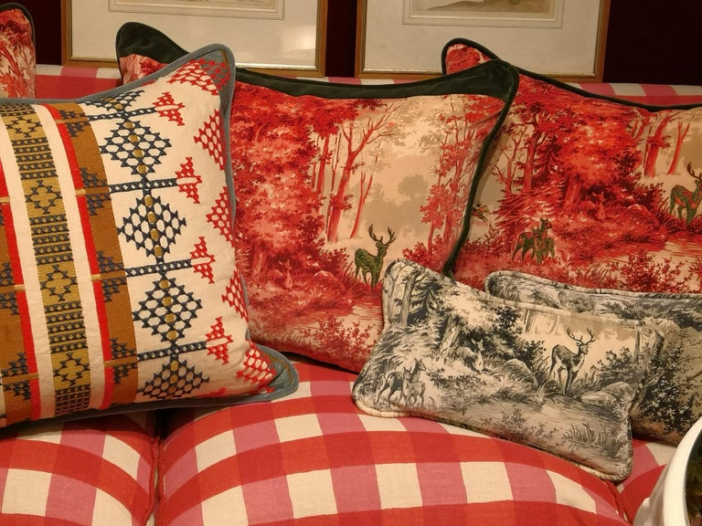Contemporary Black Forest Cushion in Red Velvet Hand Embroidered Sofina Boutique Kitzbuehel For Sale