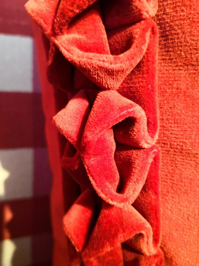 Austrian Black Forest Handmade Cushion Velvet Hunting Scene Sofina Boutique Kitzbuehel For Sale