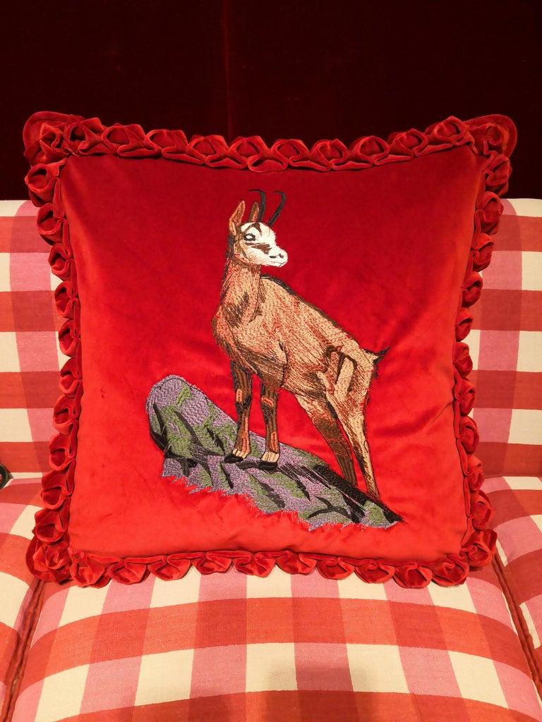 Contemporary Black Forest Handmade Cushion Velvet Hunting Scene Sofina Boutique Kitzbuehel For Sale