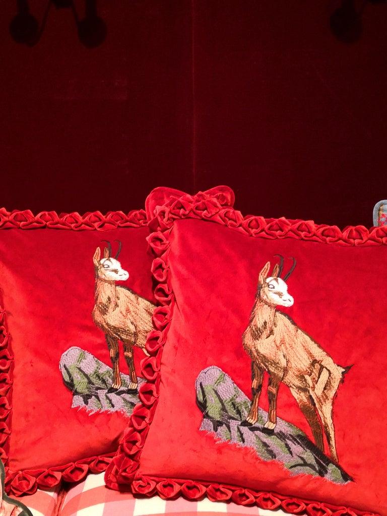 Black Forest Handmade Cushion Velvet Hunting Scene Sofina Boutique Kitzbuehel For Sale 1