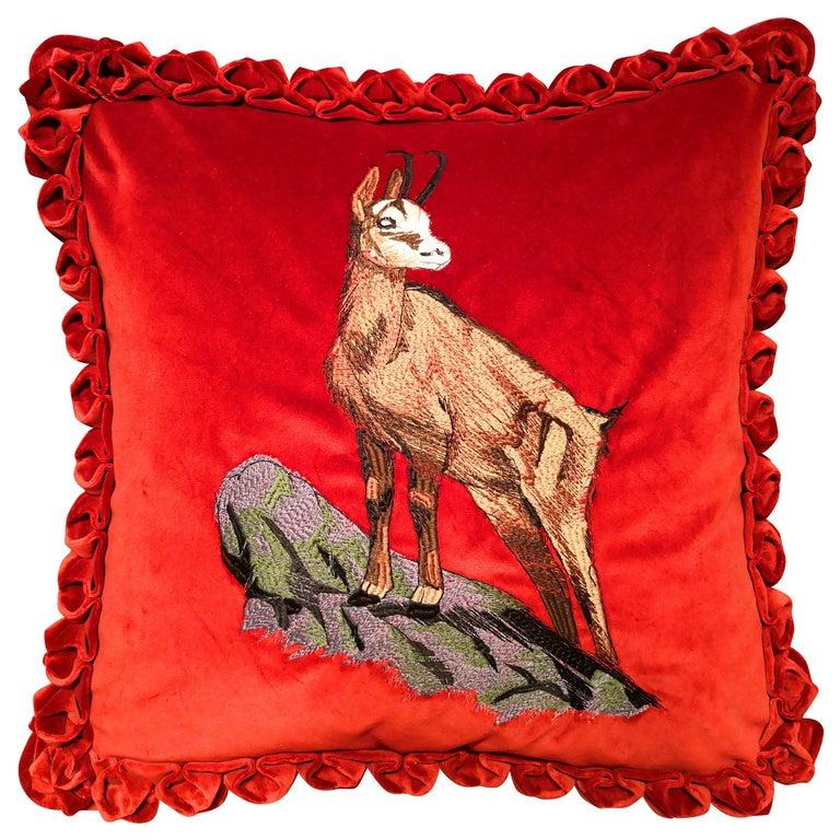 Black Forest Handmade Cushion Velvet Hunting Scene Sofina Boutique Kitzbuehel For Sale