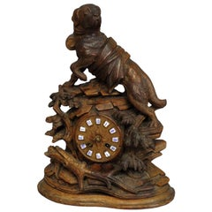 Black Forest Mantel Clock with Rescue St. Bernard Dog Sculpture