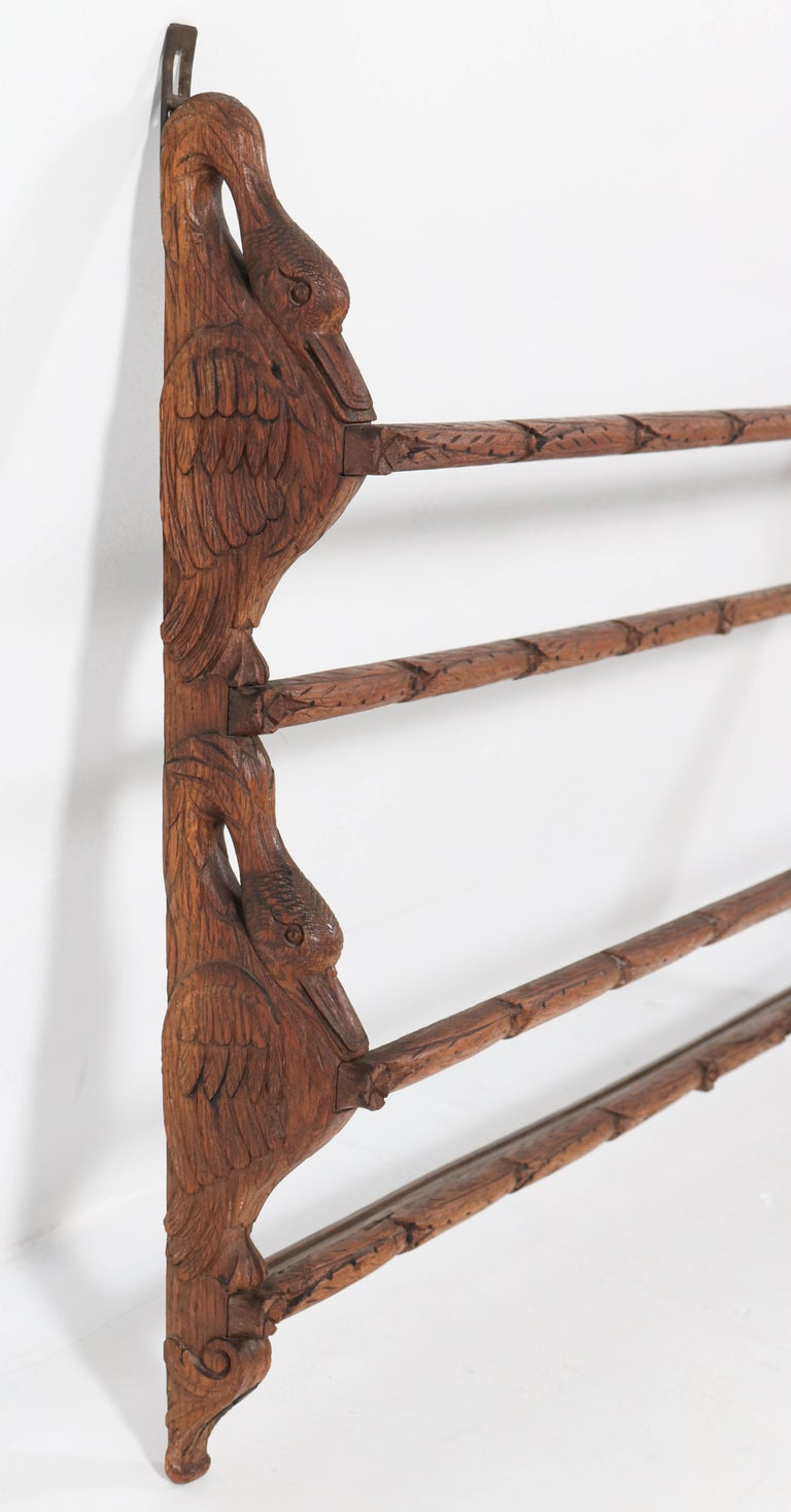 Black Forest Oak Plate Rack with Hand Carved Geese Figure, 1900s For Sale 1