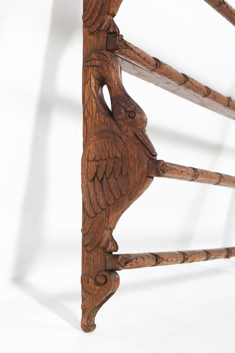 Black Forest Oak Plate Rack with Hand Carved Geese Figure, 1900s For Sale 2