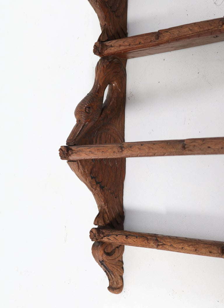 Black Forest Oak Plate Rack with Hand Carved Geese Figure, 1900s For Sale 3