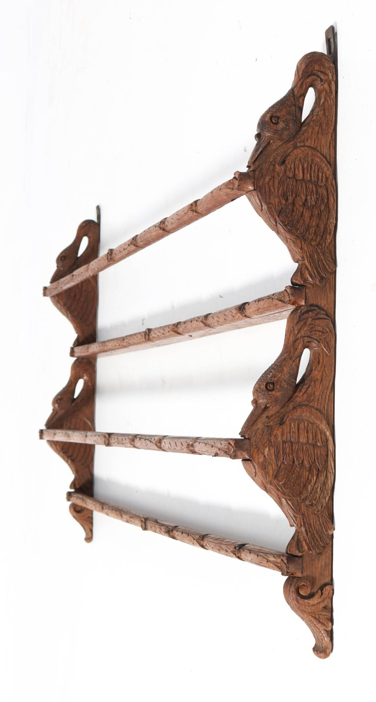 Black Forest Oak Plate Rack with Hand Carved Geese Figure, 1900s For Sale 4