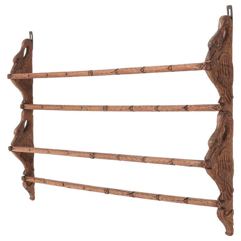 Black Forest Oak Plate Rack with Hand Carved Geese Figure, 1900s For Sale