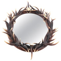 'Black Forest' Oval Antler Mounted Mirror, Early to Mid-20th Century