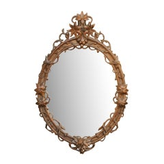 Black Forest Oval Oak Mirror with Hand Carved Edelweiss Flowers, circa 1900