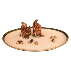 Black Forest Oval Porcelain Plate with Squirrels Sofina Boutique Kitzbühel