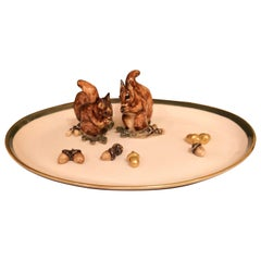 Black Forest Oval Porcelain Plate with Squirrels Sofina Boutique Kitzbühel