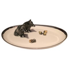 Black Forest Oval Porcelain Plate with Wild Boars Sofina Boutique Kitzbühel