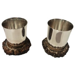 Black Forest Pair of Silver Mugs, Germany