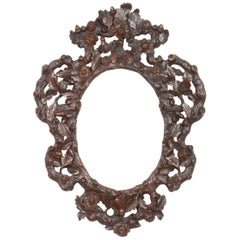 Black Forest Picture Frame, Carved Walnut from circa 1900