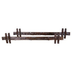 Black Forest Rustic Curtain Rods Hand Carved, Germany, circa 1880