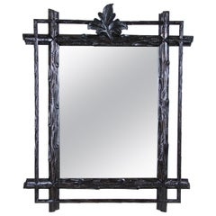 Black Forest Rustic Wall Mirror Hand Carved, Austria, circa 1880