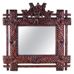 Black Forest Rustic Wall Mirror Hand Carved, Germany, circa 1880
