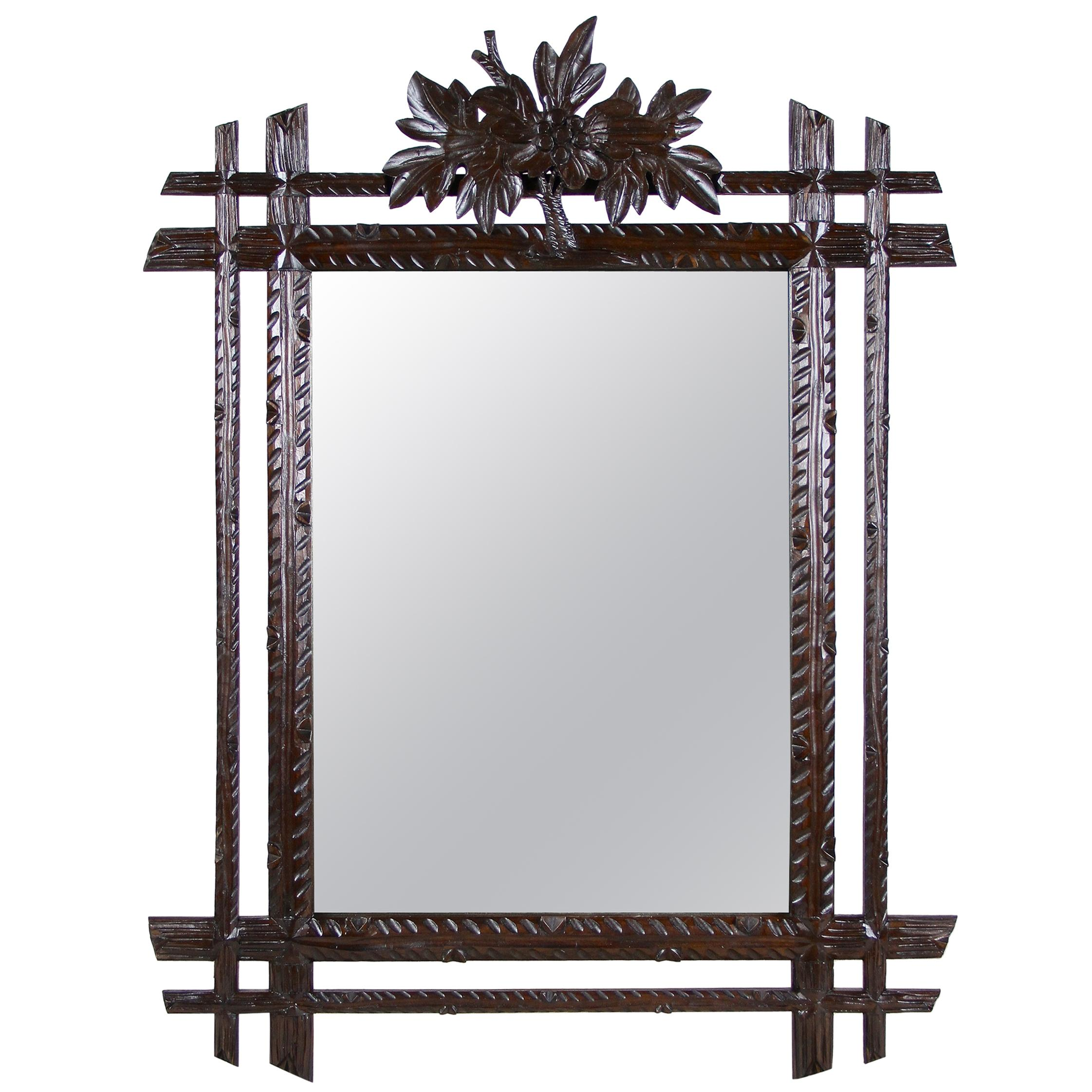 Black Forest Rustic Wall Mirror with Center Top Carving, Austria, circa 1890