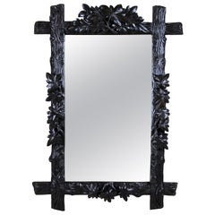 Black Forest Rustic Wall Mirror with Leaf Carvings, Austria, circa 1880