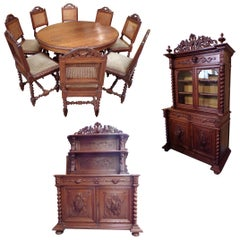 Black Forest Style 11-Piece Hunt Dining Set, circa 1880