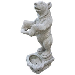 Black Forest Style Hall Umbrella Stand or Garden Bear Sculpture in Cast Concrete