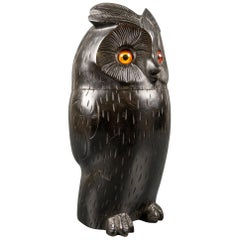 Black Forest Style Wooden Carved Trinket Box in the Shape of an Owl