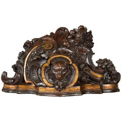 Black Forest Swiss 1900s Carved Wooden Fragment with Bear Motif and Gilt Accents