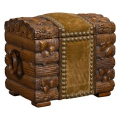 Black Forest Turn of the Century Chest with Logs, Foliage and Fabric, circa 1900