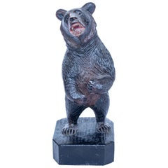 Black Forest Upright Carved Bear with Original Glass Eyes, Swiss, circa 1890