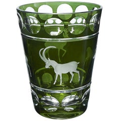 Black Forest Vase Green Crystal with Hunting Decor Sofina Boutique Kitzbuehel
