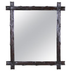 Black Forest Wall Mirror Rustic Style Hand Carved, Austria, circa 1880