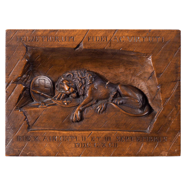 'Black Forest' Walnut Version of the Lion of Lucerne