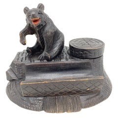Black Forest Wood Carved Brienz Bear Inkwell German Vintage, 1890s