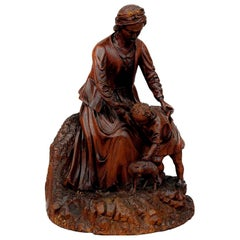 Black Forest Wood Carving, Mother with Child and Cat