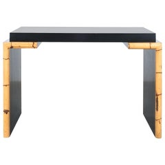 Black Formica Bamboo Desk Postmodern, Italy