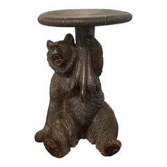 Black Forrest Carved Bear with Mushroom Stool/ Table