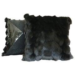 Black Fox Fur Pillow