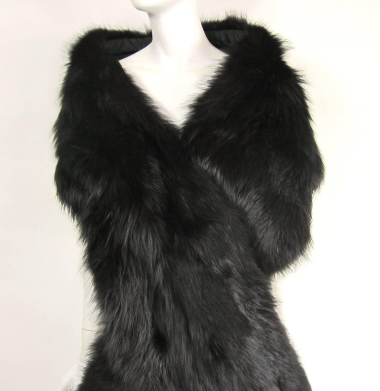 Black Fox Fur Stole Wrap Vintage 1980s In Good Condition For Sale In Wallkill, NY