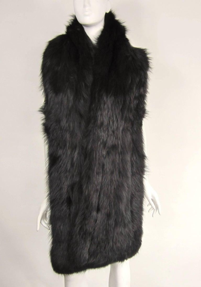 Women's  Black Fox Fur Stole Wrap Vintage 1980s For Sale
