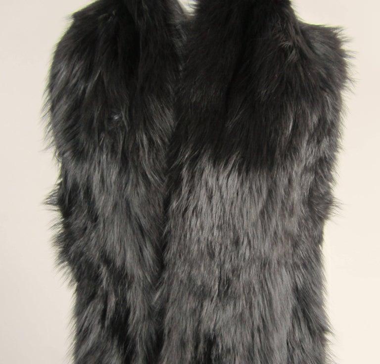 Black Fox Fur Stole Wrap Vintage 1980s For Sale 1