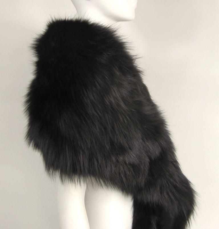 Black Fox Fur Stole Wrap Vintage 1980s For Sale 2