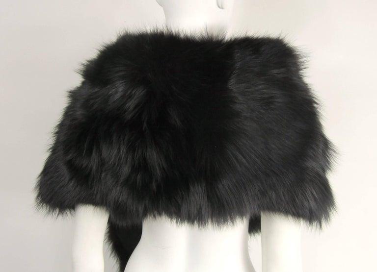 Black Fox Fur Stole Wrap Vintage 1980s For Sale 4