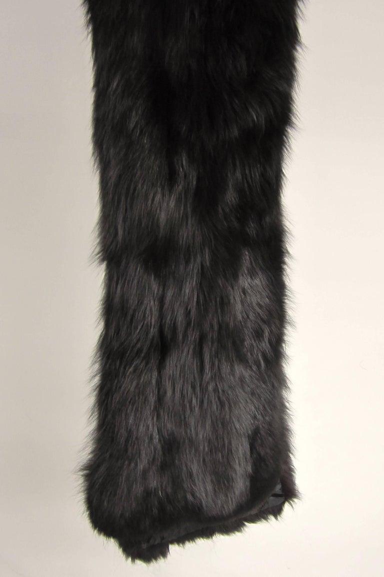 Black Fox Fur Stole Wrap Vintage 1980s For Sale 5