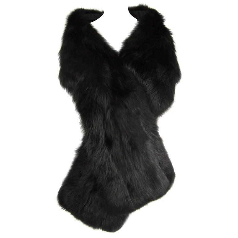 Black Fox Fur Stole Wrap Vintage 1980s For Sale