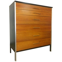 Black Frame & Natural Walnut 6-Drawer w/ Brass Pulls Chest of Drawers / High Boy