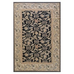 Black French Leaf Design Needlepoint Chinese Rug New